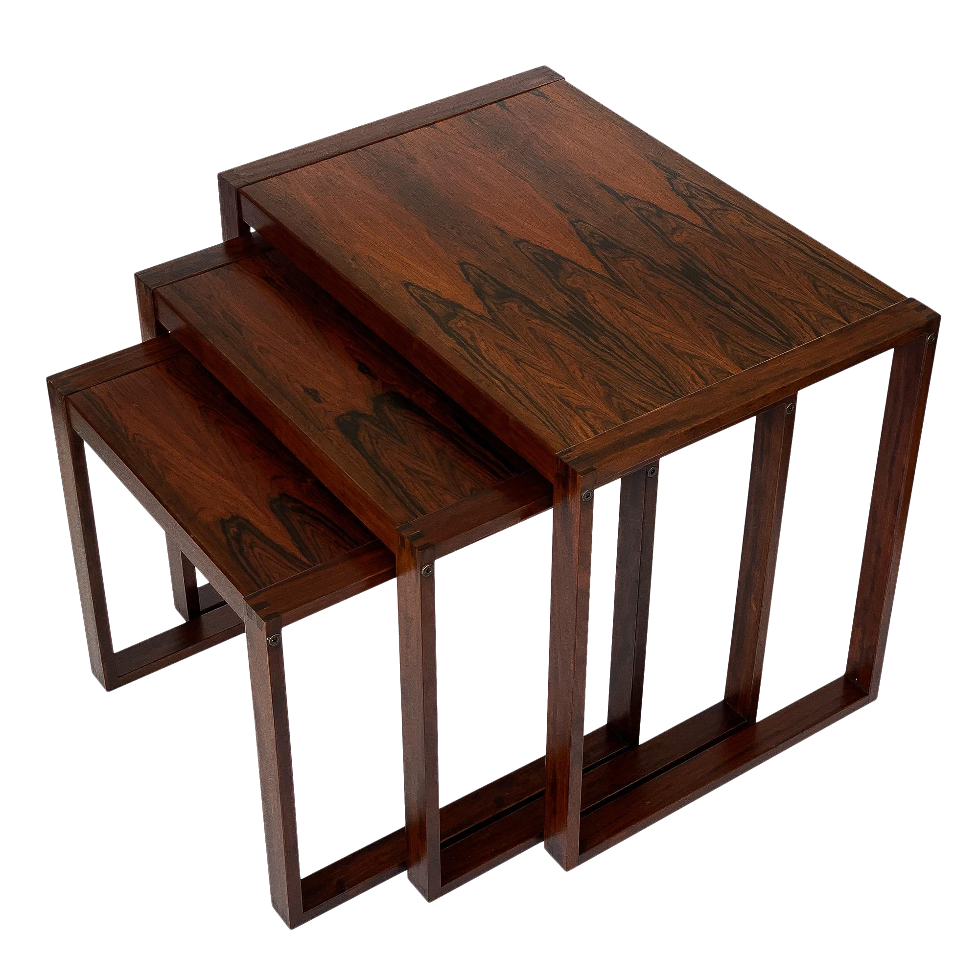 1960s Danish Rosewood Nesting Tables   Set Of 3 For Sale