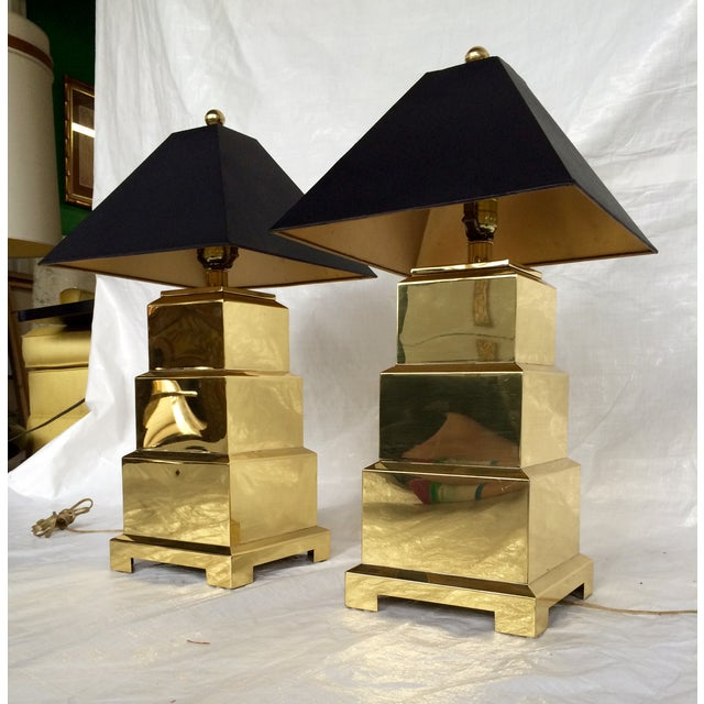F. Cooper Brass Pagoda Lamps - Pair - Image 4 of 9