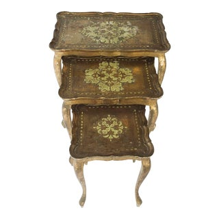 Vintage Florentine Gold Gilt Stacking Tables - Set of 3 For Sale
