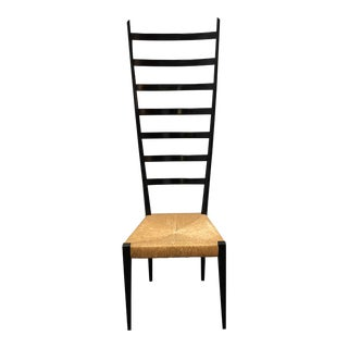 Mid-Century Italian Wood Ladder and Rushed Seat Chair For Sale