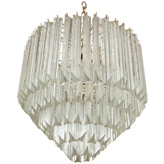 1970s Five-Tier Crystal Prism Chandelier by Camer For Sale