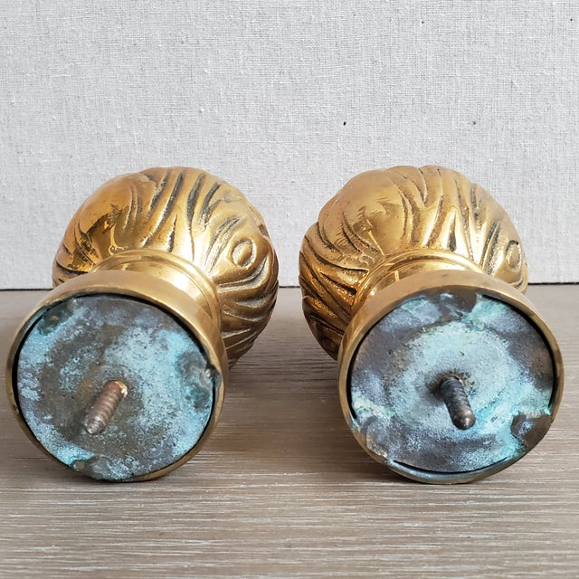 Metal Brass Curtain Tie Back Finials - a Pair For Sale - Image 7 of 8