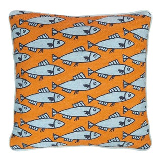 Luke Edward Hall for the Rug Company Anchovies Orange Cushion For Sale