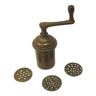 Antique Solid Bronze & Brass Pasta Press For Sale