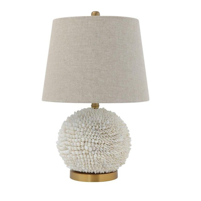 Natural Shell Table Lamp With Natural Linen Shade For Sale - Image 4 of 4