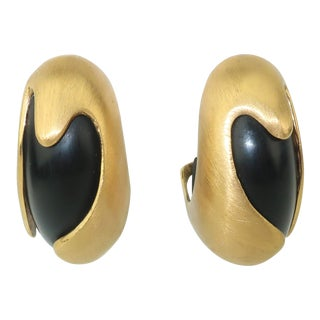 Inna Cytrine Brushed Gold Metal & Black Sculptural Clip on Earrings For Sale
