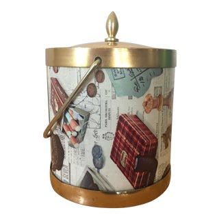 "1950s Fornasetti-Style ""Burton's Rome"" Ice Bucket or Humidore For Sale"