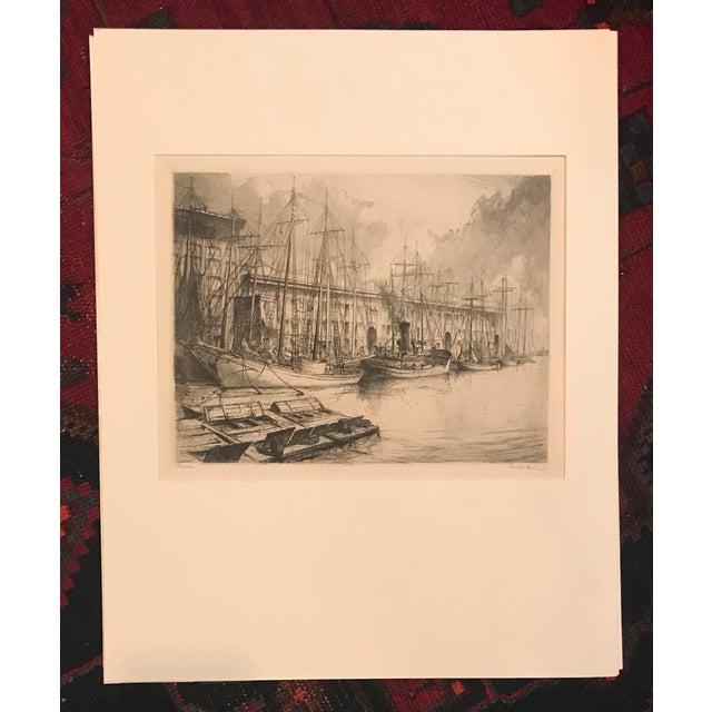 1928 Vintage Louis Orr Boston Harbor Etching For Sale - Image 4 of 4