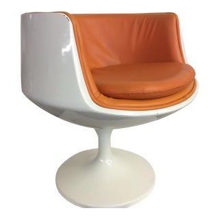Late 20th Century Eero Aarnio Finland Orange Leather Cognac Chair For Sale