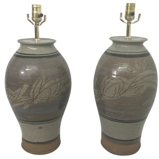 California Pottery Table Lamps - A Pair For Sale