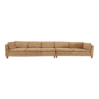 Mid Century Newly Upholstered Damask Sofa For Sale