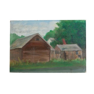 Vintage Barn Landscape Painting For Sale