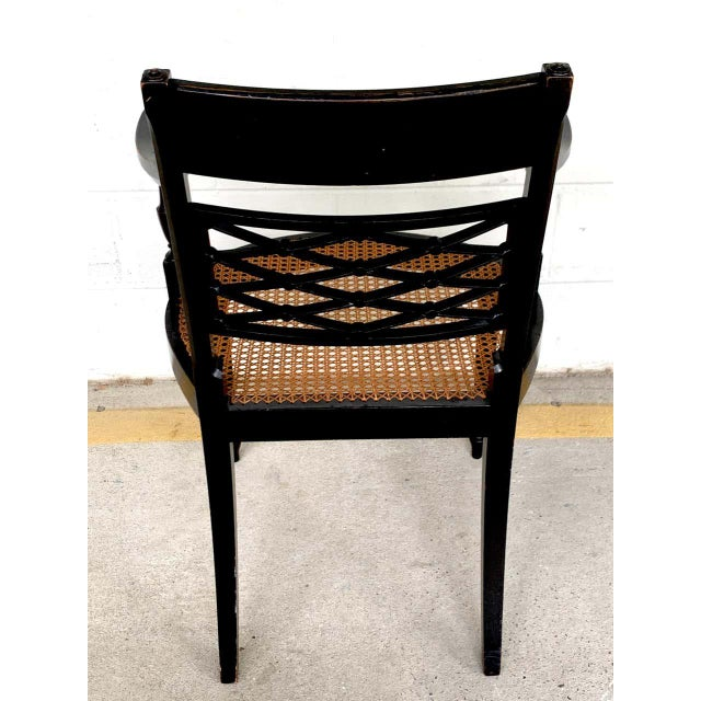 Regency Black and Polychrome Cane Seat Armchairs - a Pair For Sale - Image 9 of 10
