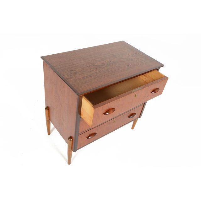 Danish Modern Three-Drawer Teak and Oak Chest - Image 6 of 9