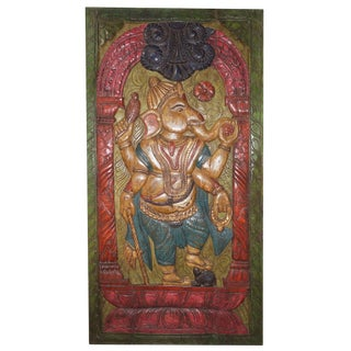 Vintage Hand Carved Colorful Ganesha Temple Wall Panel Barndoor Sculpture For Sale