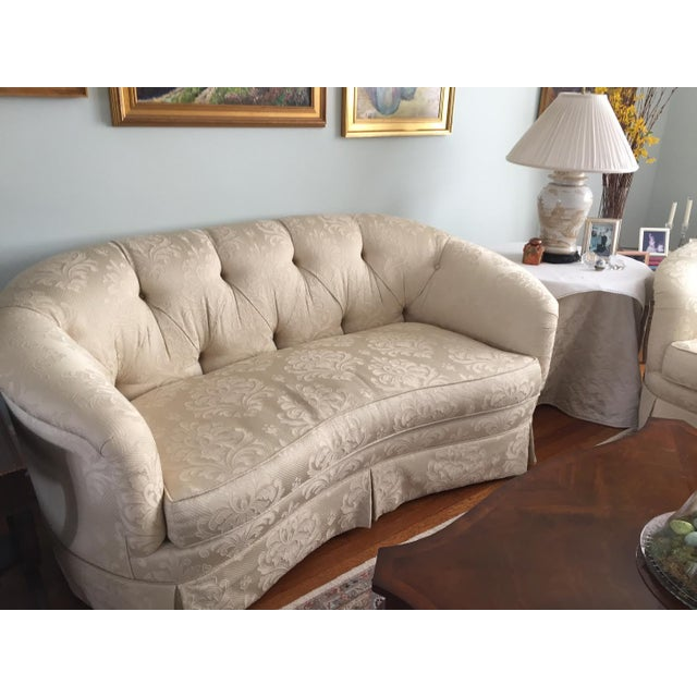 Damask Ivory Fabric Loveseat For Sale - Image 4 of 4