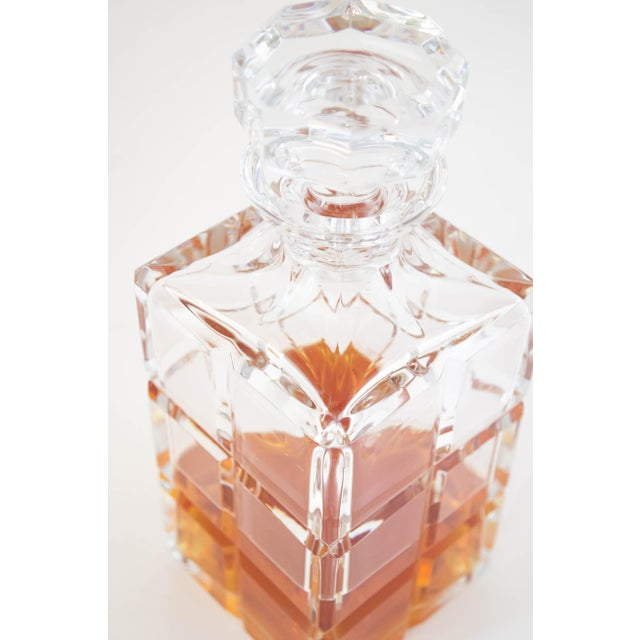 Square Cut Crystal Whiskey Decanter W/Stopper For Sale - Image 4 of 9