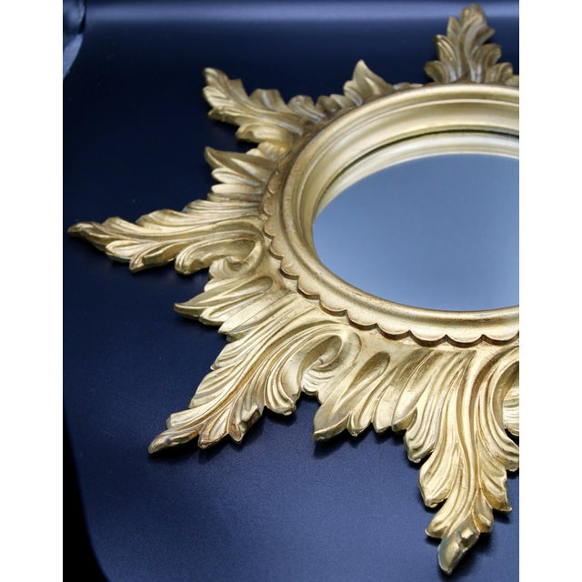 1960s Italian Gold Feather Rays Sunburst Mirror For Sale - Image 4 of 10