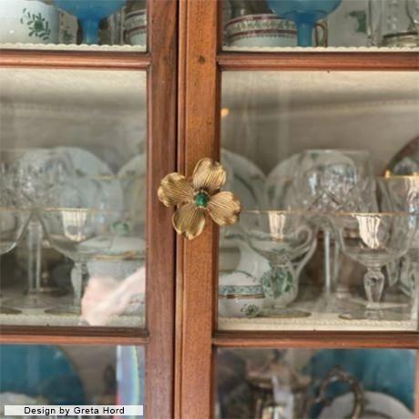 "Contemporary Addison Weeks Dogwood 3"" Custom Knob - Polished Brass & Labradorite For Sale - Image 3 of 7"