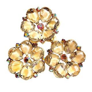 Juliana Triple-Flower Brooch For Sale
