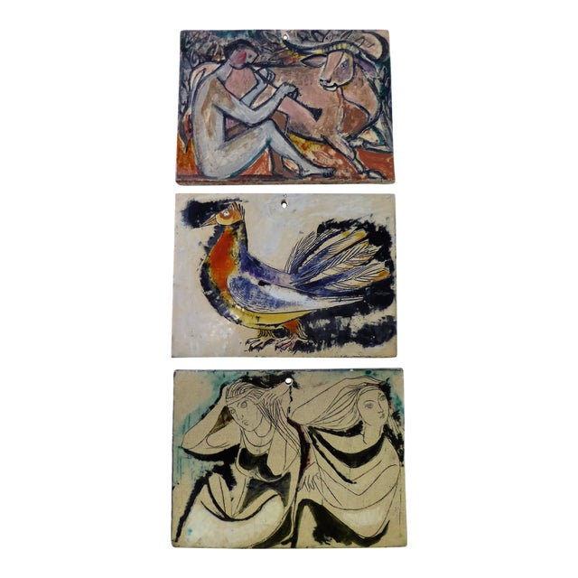1950s Swiss Modern Pottery Wall Plaques by Philippe Lambercy - Set of 3 For Sale