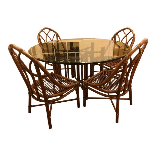 Mid-Century Cottage Cane & Glass Dining Set - Image 1 of 4