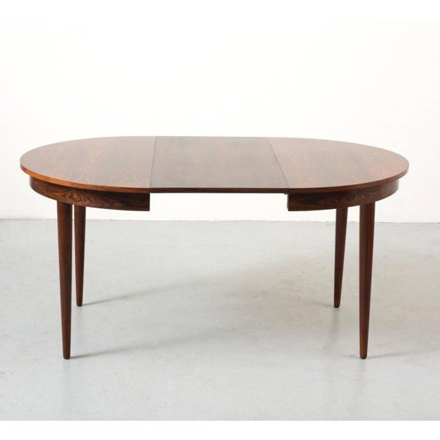 Round Hans Olsen Rosewood Dining Table with Extension Leaf - Image 4 of 9