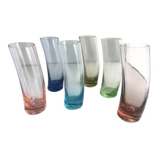 Vintage Hand Blown Colored Shot Glasses - Set of 6