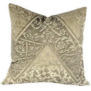 """Brunschwig & Fils Mainard Damask in Beige and Silver Pillow Cover - 20"""" X 20"""" For Sale"""
