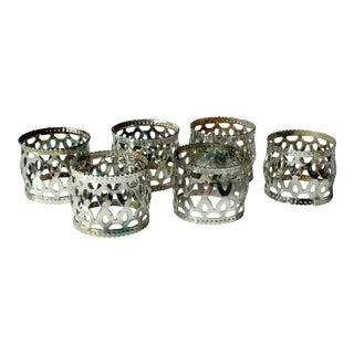 Old Silver Plated Napkin Rings, Vintage From the 1960s - Set of 6 For Sale