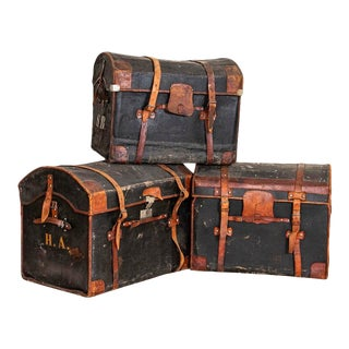 Authentic Vintage Set of 3 Travel Trunks With Monograms For Sale