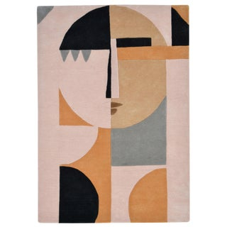 Custom Modern Abstract Wool Female Face Hi Low Pile Rug 5' X 7' For Sale
