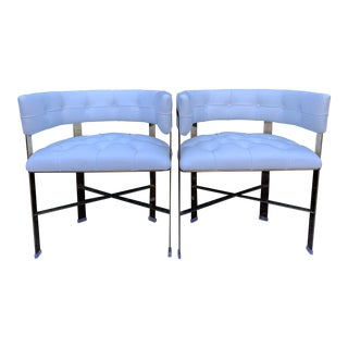 Kelly Hoppen Tufted Leather and Brass Chairs- a Pair For Sale