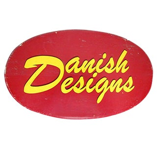"Monumental ""Danish Designs"" Wooden Advertising Sign For Sale"