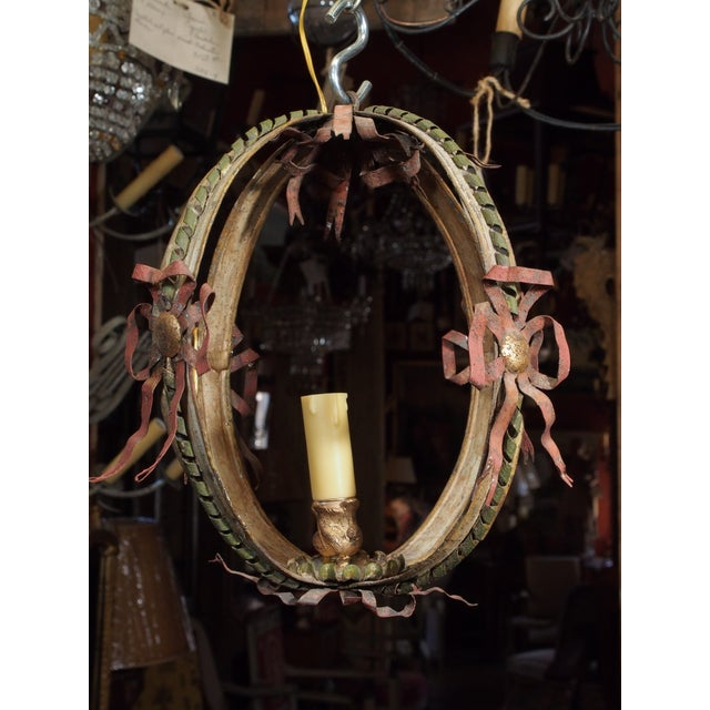Early 20th Century Small Italian Tole Chandelier For Sale - Image 5 of 7