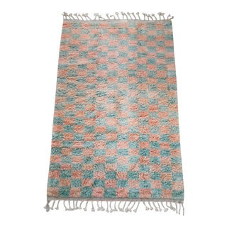 Sage & Coral Checker Beni Ourain Moroccan Wool Area Rug - 11x14' For Sale