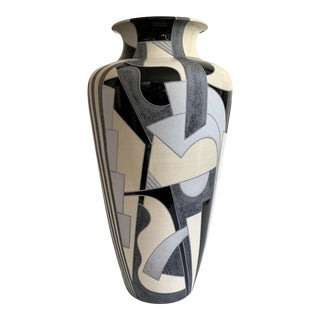 Monumental Abstract Ceramic Floor Vase For Sale