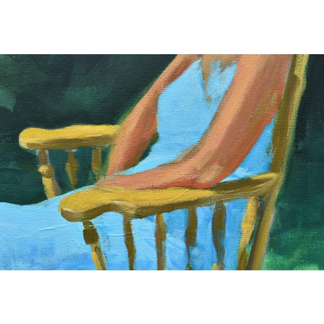 Canvas Painting of a Woman Sitting in a Rocking Chair Outside For Sale - Image 7 of 12