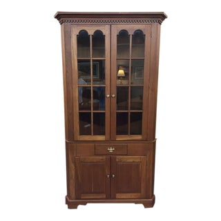 Vintage Custom Pennsylvania Solid Cherry Corner Cabinet For Sale