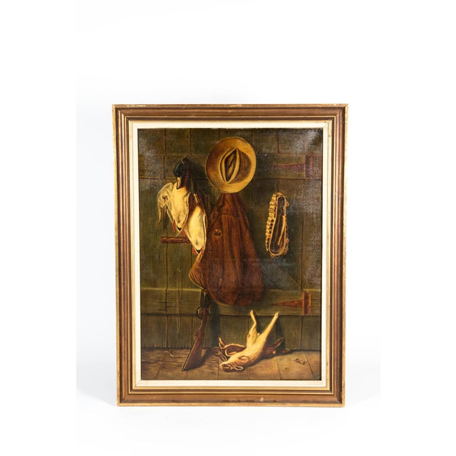 Early 20th Century Trompe l'Oeil Oil Painting With Wood Frame For Sale - Image 10 of 11