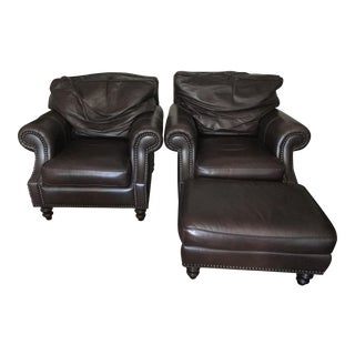 Our House Designs Leather Club Chairs With Ottomans For Sale