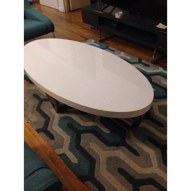 White Oval Oyster Coffee Table - Image 4 of 4