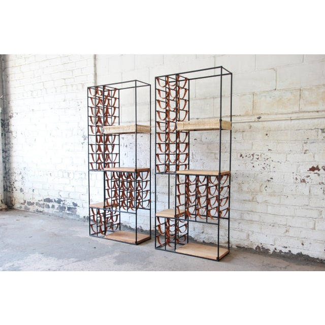 Arthur Umanoff Mid-Century Modern Leather and Iron 40-Bottle Wine Rack, Two Available For Sale - Image 13 of 13