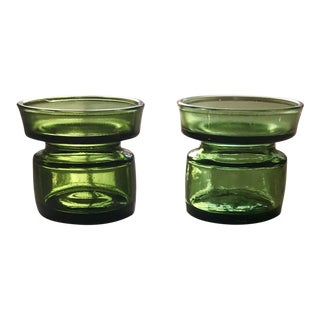 Jens Quistgaard for Dansk Vintage Danish Modern Green Glass Candle Holders - a Pair