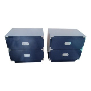 1960s Campaigner Dixie Furniture Company Blue Wood Nightstands - a Pair For Sale