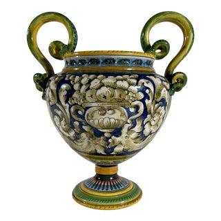Vintage Italian Majolica Two-Handled Urn For Sale