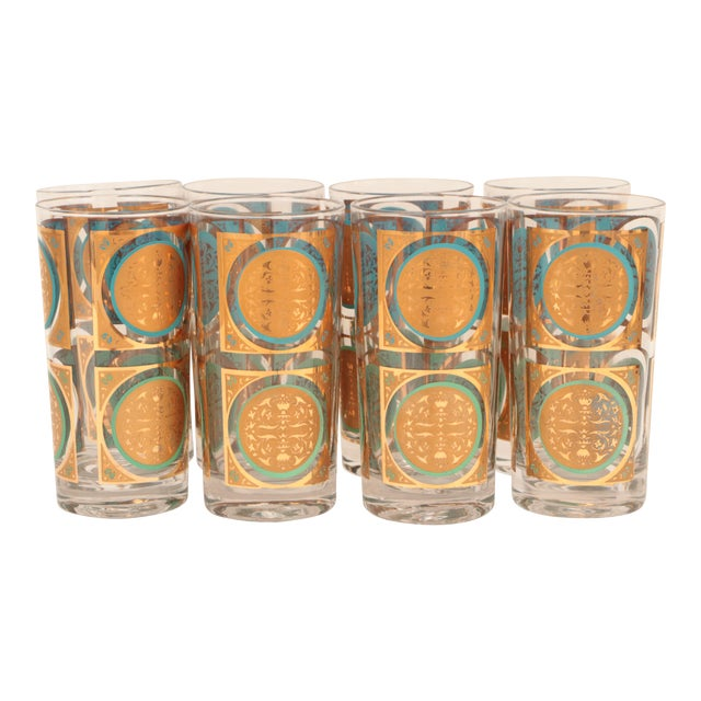 Mid-Century Gold and Aqua Highballs - Set of 8 For Sale