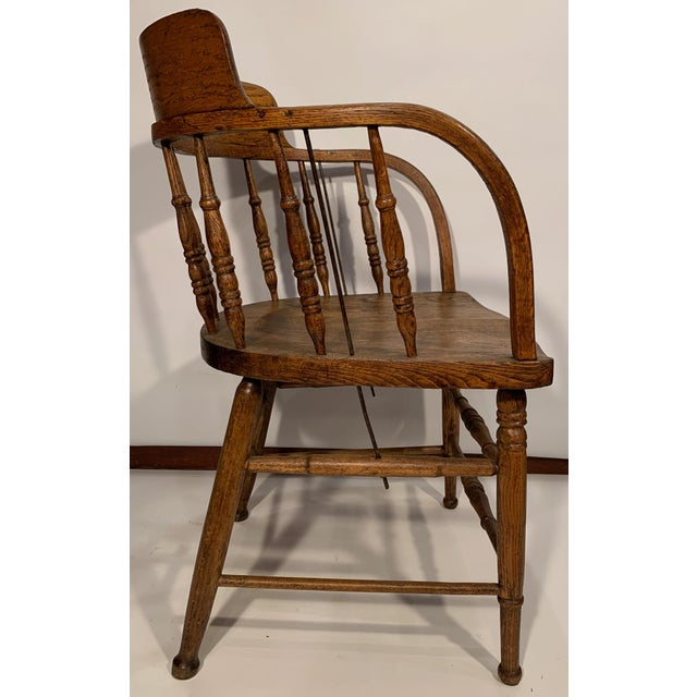 Antique Oak Captain's Chair For Sale In Boston - Image 6 of 8