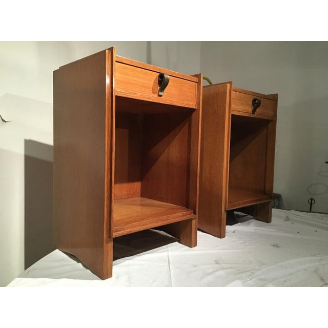 Superb Pair of Oak Bedsides With Pure Design and Original Iron Handle For Sale - Image 6 of 6