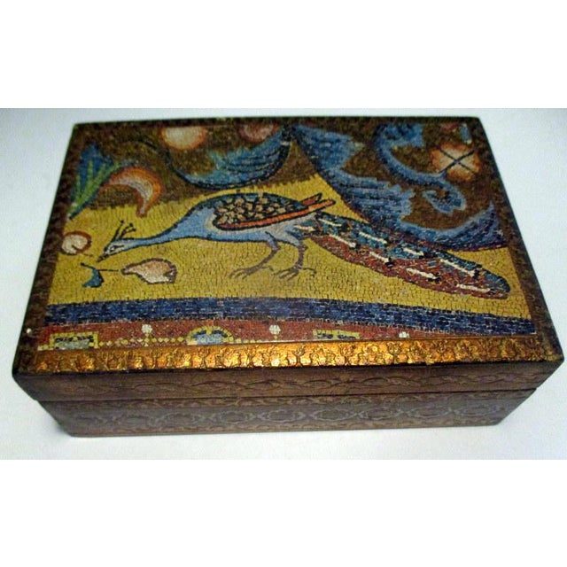 Wood 1970s Italian Florentine Decorative Box With Peacock Design For Sale - Image 7 of 7